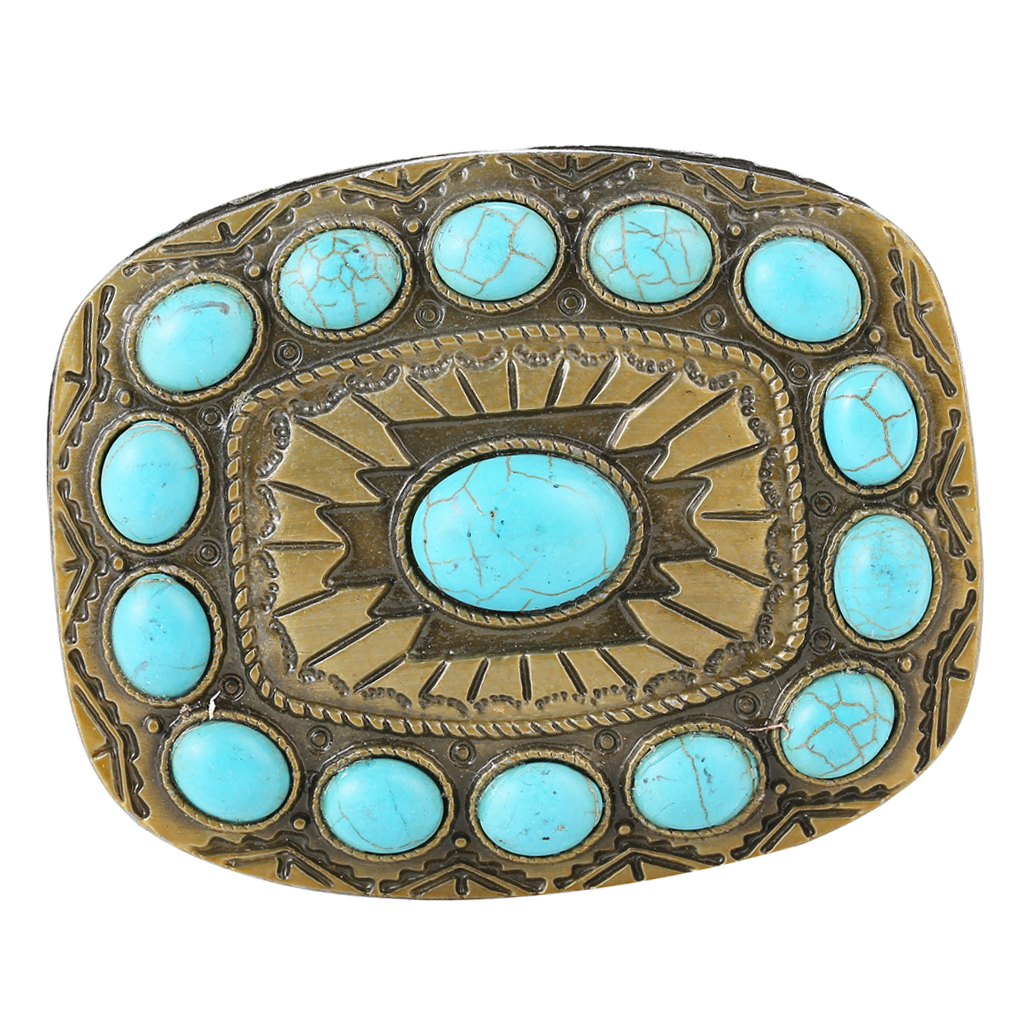 Vintage Cowboy Turquoise Bead Belt Buckle Women Blue Classic Boho Bronze Tone Buckles Point Square Buckle For 1.4-1.5inch Belt