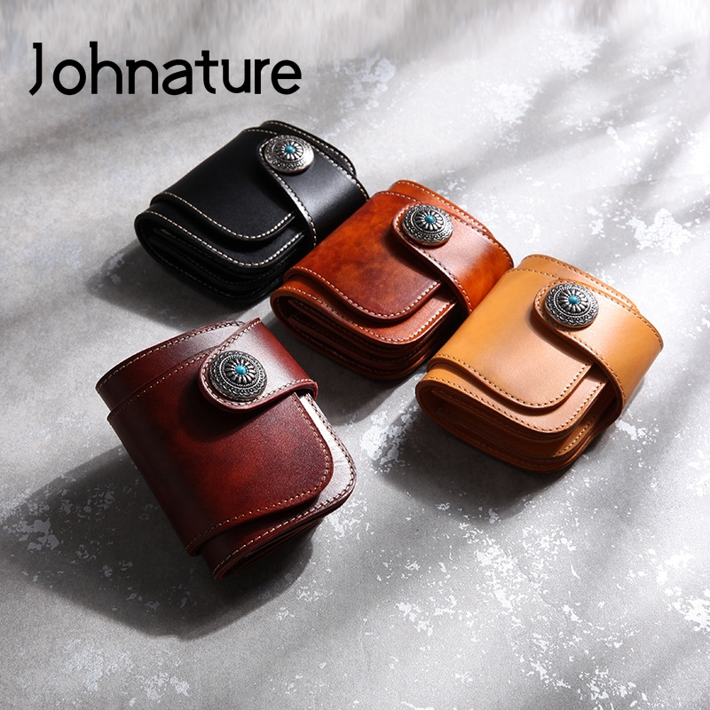 Johnature Vintage Handmade Genuine Leather Short Wallet 2021 New Solid Color Hasp First Layer Cowhide Unisex Turquoise Purse