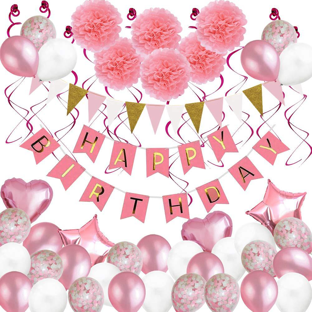 Baby Party Decorations Set Pink Theme Newborn Baby Birthday Party Kids Girls Party Decorations Children's Day Decorations Sets