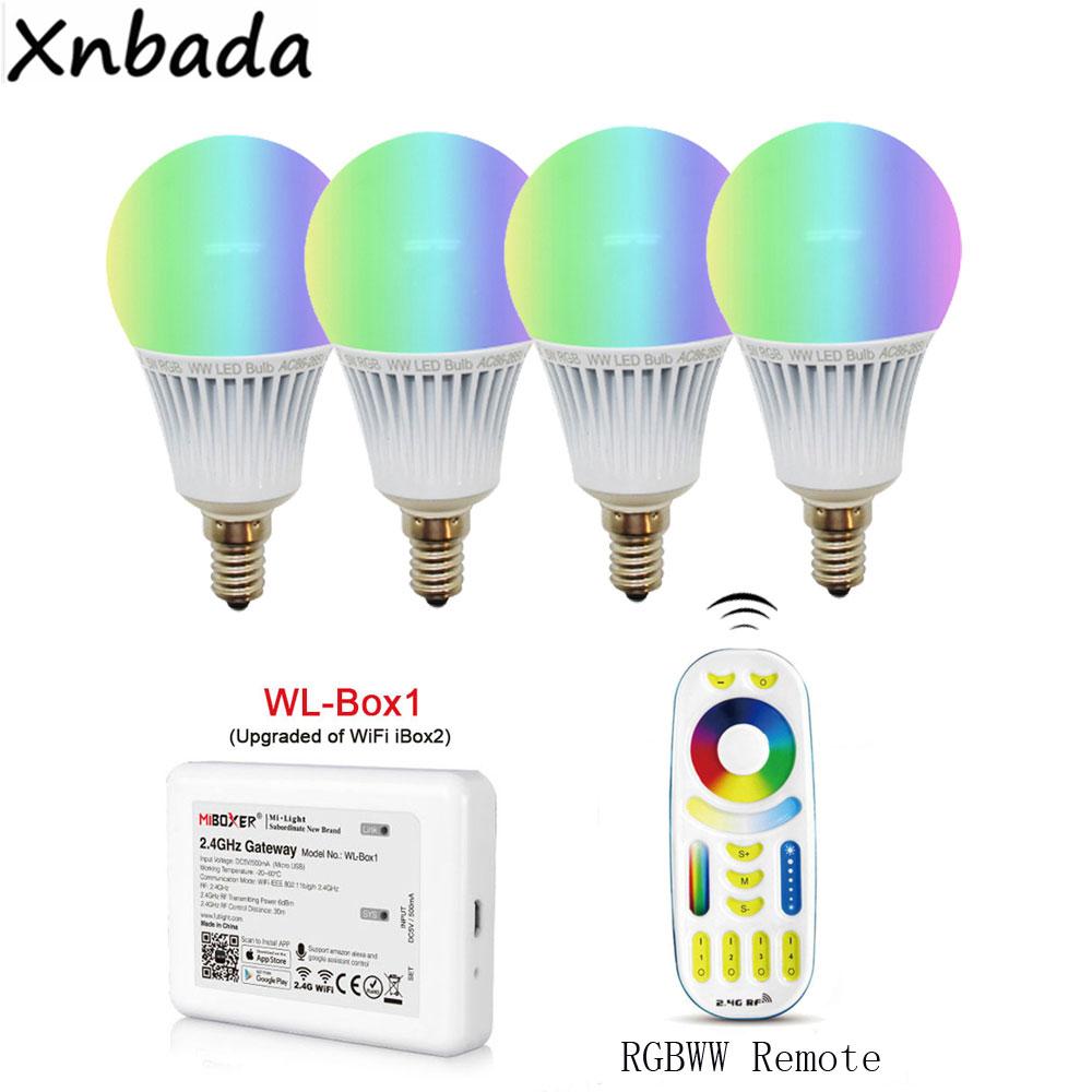 Milight Led Bulb E14 5W RGB+CCT Led Lamp AC85-265V,Wireless WL-Box1 Led Controller,2.4G Wireless RGBWW RF Remote Controller
