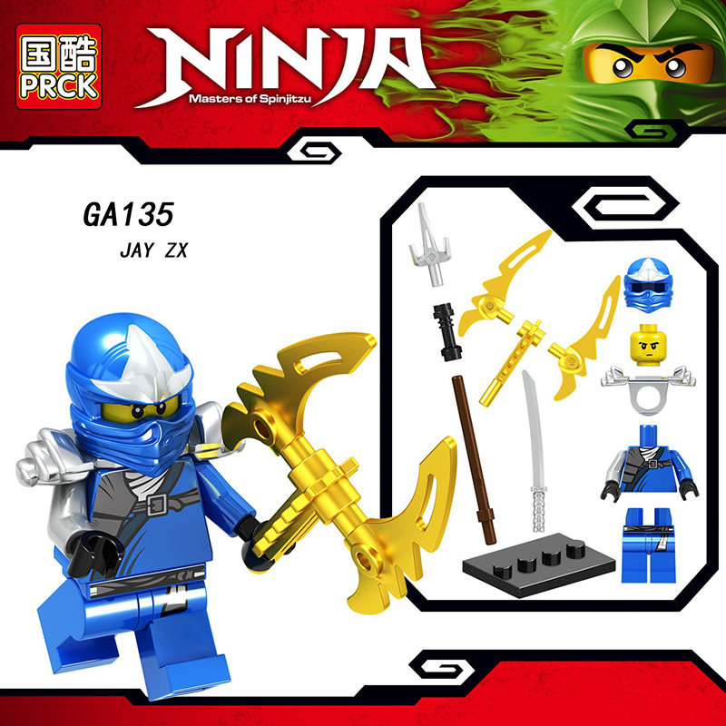 Single Sale Compatible LegoINGlys ZANE ZX GOLDEN NINJA COLLE LLOYD JAY  KAI Ninjagoes Action Building Blocks Toys Children Gift