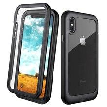 Stoßfest Fall für iPhone 7 8 Plus X XS XR 11 Pro Max Volle Körper Rüstung Stoßstange Stoßfest Transparente Abdeckung fall für 11pro Coque