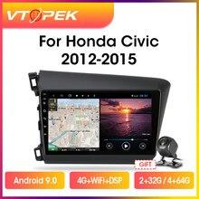Мультимедийная магнитола Vtopek для HONDA CIVIC 10,0-2015, стерео-система на Android 2012, с 9