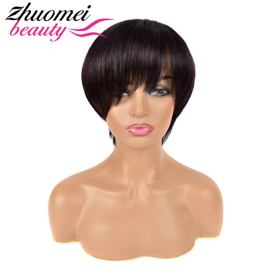 Pixie Cut Wig Short Bob Wig P1B/Purple Ntaural Human Hair Wig Full Mechine Wig 1PC/2PCS Remy Mongolian Hair