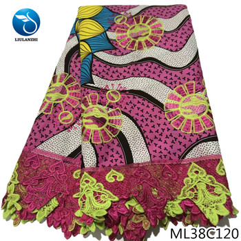BEAUTIFICAL nigerian wax lace 6 yards ankara guipure lace embroidery printing fabric wax sewing tissu wax laces ML38C110-23