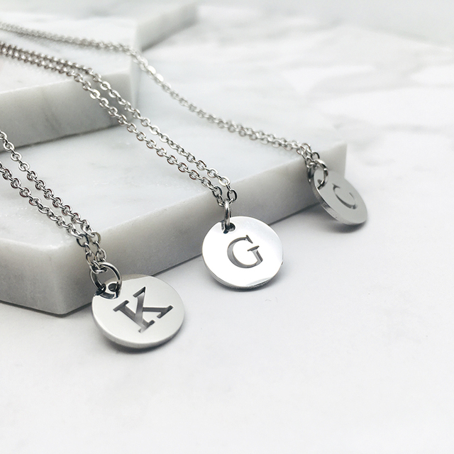 Stainless Steel 12mm Disc Initial Letter Alphabet Chain Necklace Creatively 26 Initial Name Couple Necklaces Lover Gift New 2