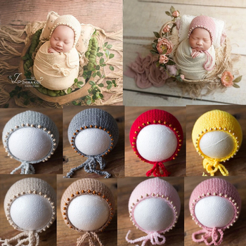 Newborn Photography Props Knit Newborn Hat Baby Photo Studio Photography Props Cap Baby Photography Props yundfly knit baby hat newborn photography props candy color flower beanie cap baby fotografia hair accessories