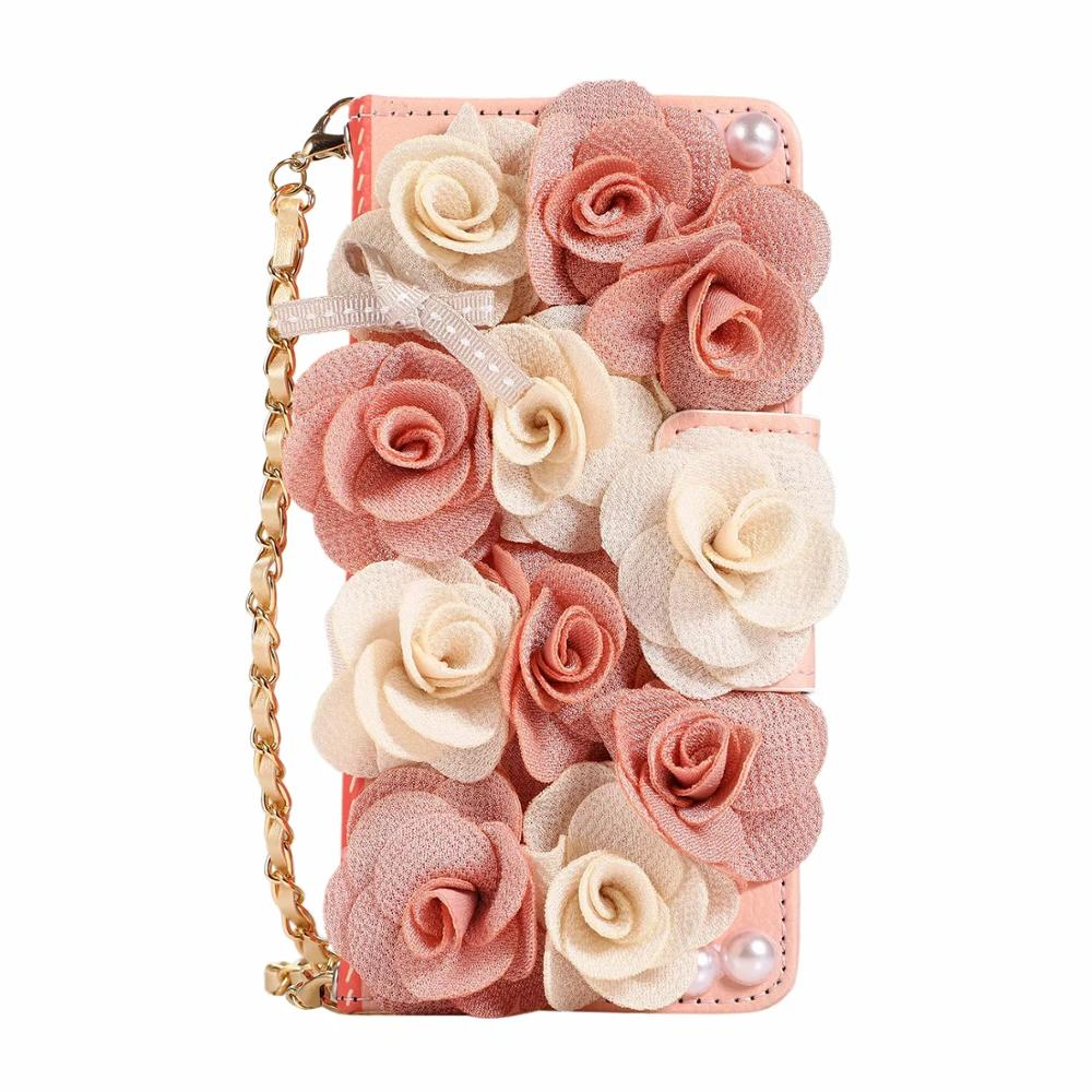 for <font><b>Samsung</b></font> Galaxy Note <font><b>10</b></font> Plus 9 8 5 <font><b>Case</b></font> with Chain Strap 3D Flower Rose Decor Leather Cover for <font><b>Women</b></font> Wallet Handbag Purse image