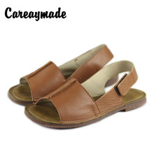 Careaymade-Summer fishmouth Genuine Leather sandals,women flat-soled leather heel magic sticker leisure comfortable shoes
