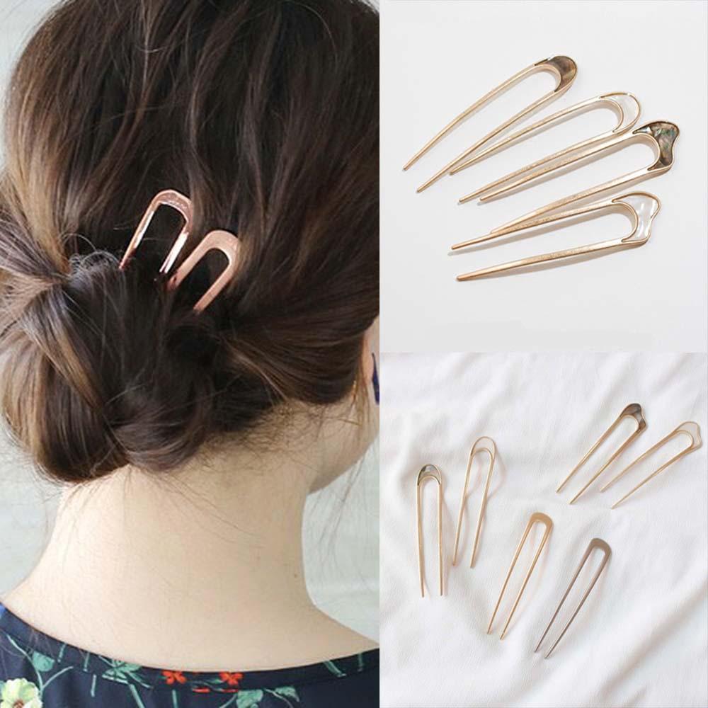 Japan Minimalist Alloy Metal Conch Shell Hair Sticks For Women Girl Hairclip Tools Bun Maker Hairpins Headwear