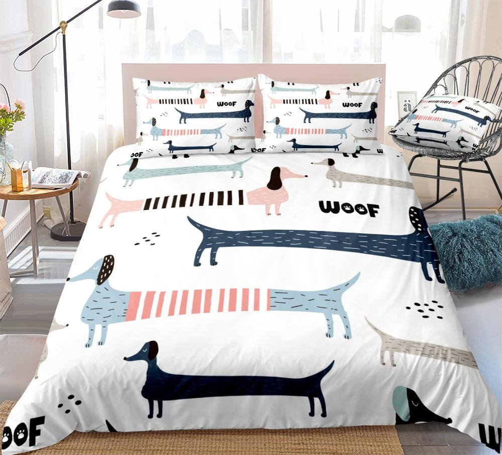 3pcs Dachshund Dog Bedding Colorful