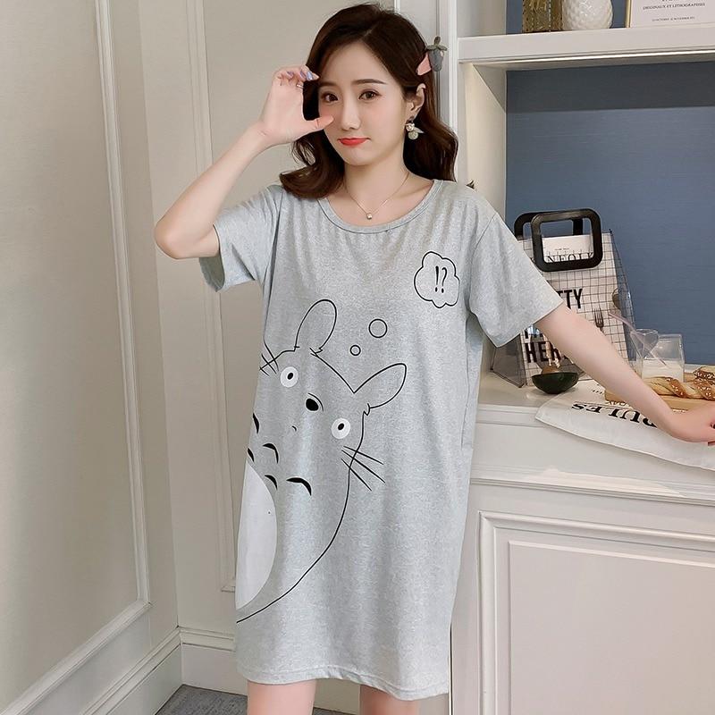 2020 Summer Short Sleeve Nightgowns Dress For Women Cute Cartoon Home Dress Sleepwear Loose O-neck Night Gown Nightdress Nighty