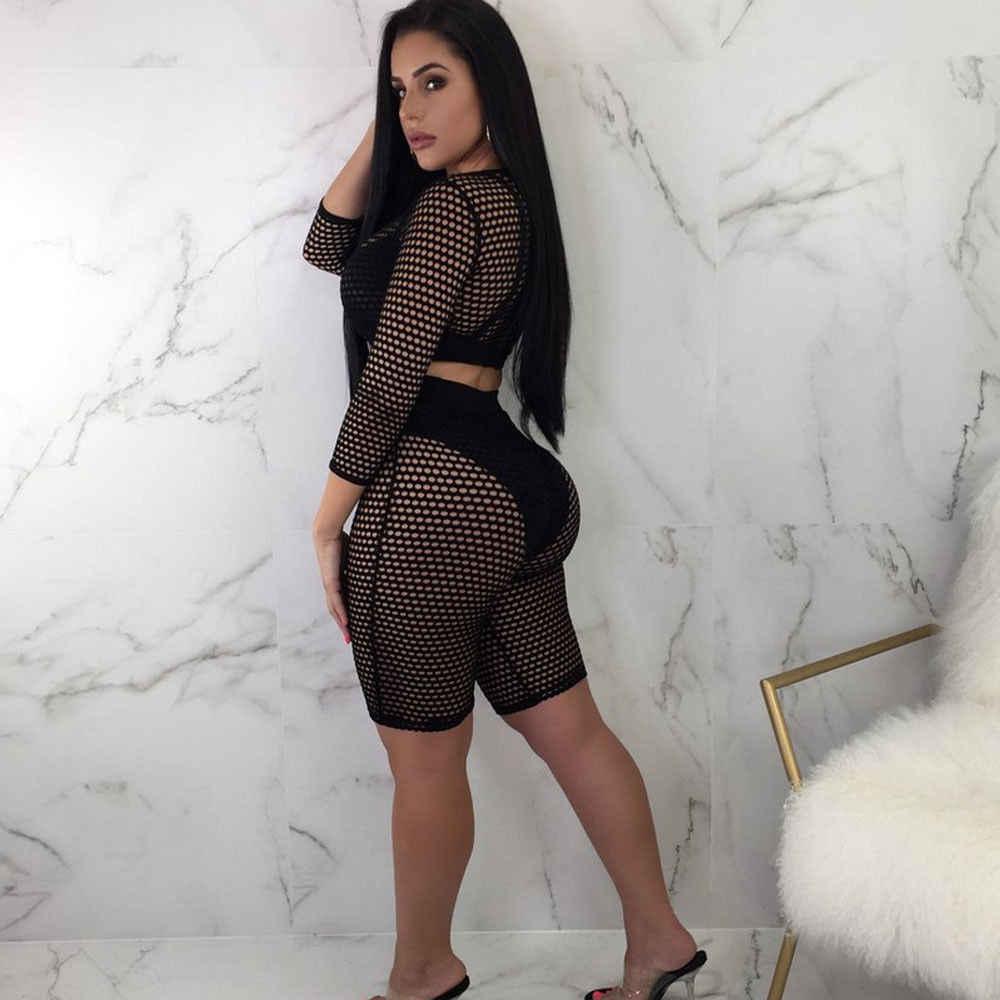 Hirigin, женские комплекты, Lang, сетчатые Топы + короткие штаны, сексуальные, с длинным рукавом, seeсквозные, сетчатые, короткий топ, футболка и шорты, набор