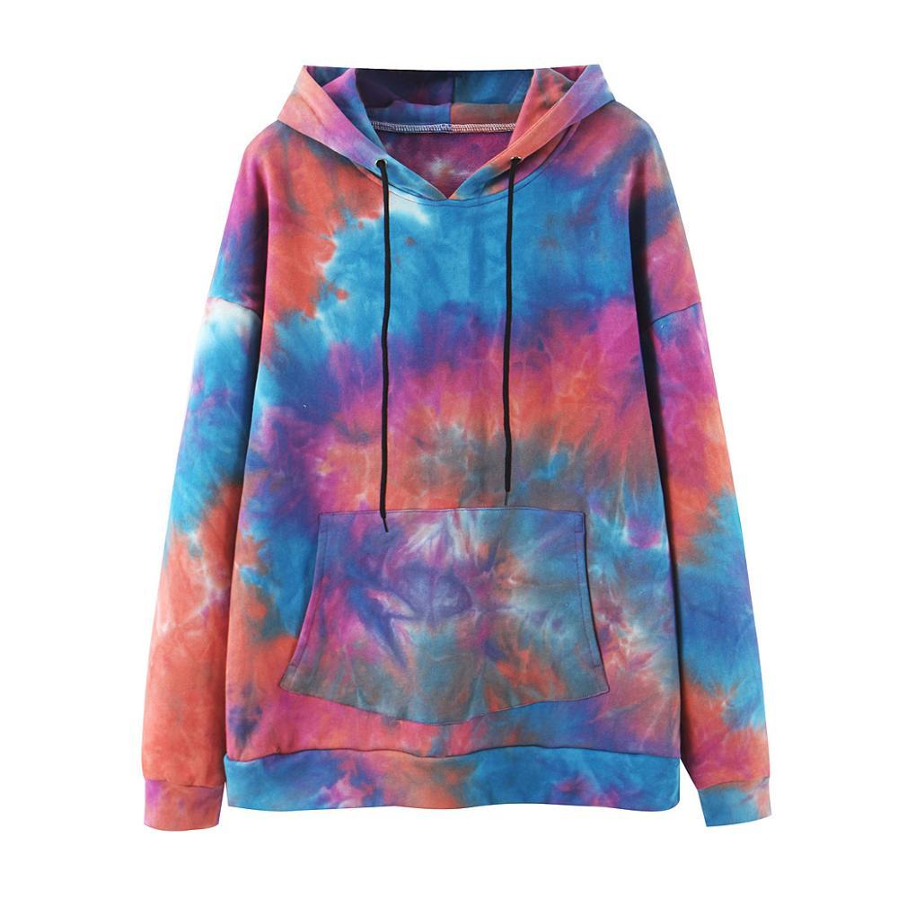 Wixra Womens Tie-dye Sweatshirts Femme New Fashion Hot Hoodies Pocket Long Sleeve Autumn Winter Casual Streetwear Tops 8