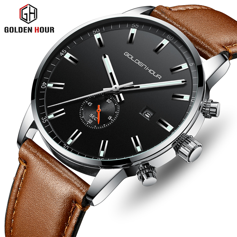 Men Watch GOLDENHOUR Top Brand Luxury Business Quartz Watches Mens Fashion Sport Leather Waterproof Wristwatch Relogio Masculino