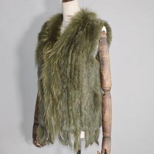 Image 4 - 2020 Women Real Rabbit Fur Vest Handmade Knitted Tassels 100% Real Genuine Rabbit Fur Gilet Real Raccoon Fur Collar Waistcoat