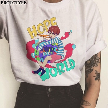Hope World Kpop Print Graphic Tees Aesthetic T Shirt Women Short Sleeve Round Neck Korean Style 2020 Summer New 90s Clothes love t shirt plus size 90s graphic tees women japanese korean clothes casual print o neck vintage gothic streetwear 2019 print