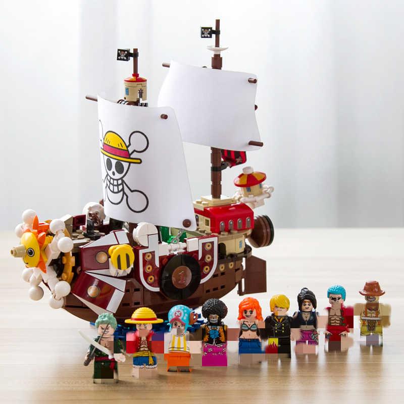 432pcs jeden sztuk klocki Thousand Sunny statek piracki Luffy bloki Model technic pomysł figurki zabawki dla dzieci