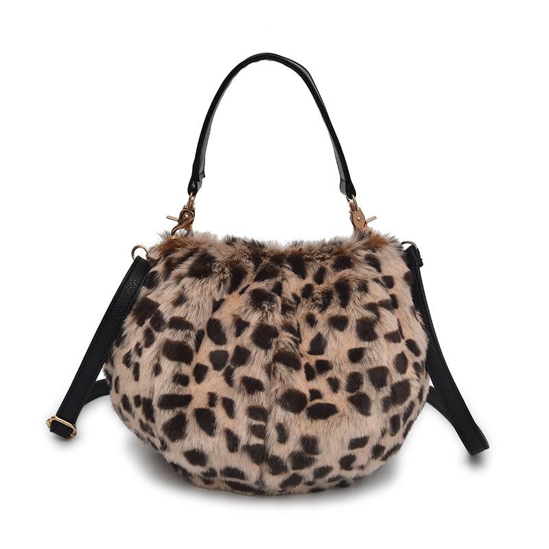 Inverno para Mulheres Artificial de Pelúcia Bolsa de Ombro Novo Senhoras Leopardo Bolsa Feminina Festa Menina Presente Natal Macio Wonton