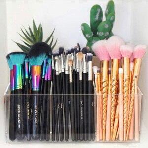Yageli acrílico maquillaje organizador de cepillos y forro de almacenamiento hacer herramientas de cajas de almacenamiento de 3 ranuras soporte de lápiz labial caso