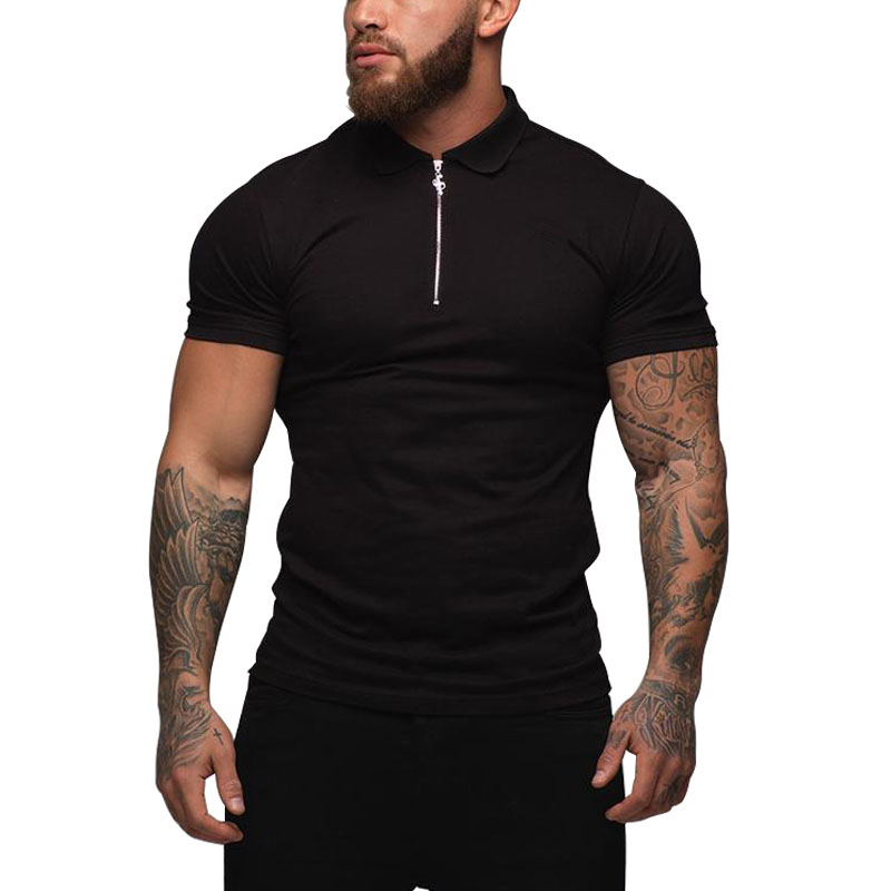 Dropshipping Brand Quality Cotton Polos Men Solid Slim Fit Stand Collar Short Sleeve Polo Shirt Men Fashion Clothes
