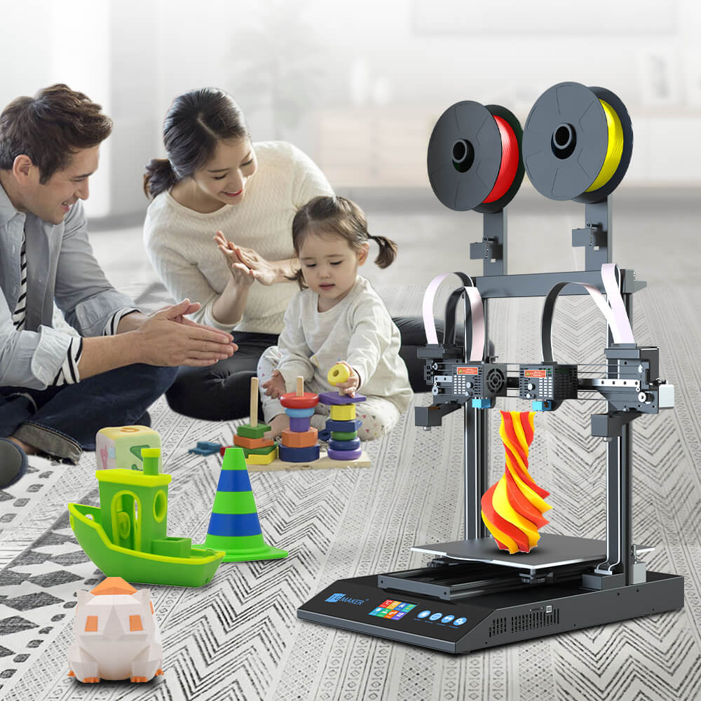 JGMAKER Artist D Pro 3D Printer IDEX Dual Independent Extruder Direct Drive TMC2209 32bit Motherboard Print Volume 300*300*340mm
