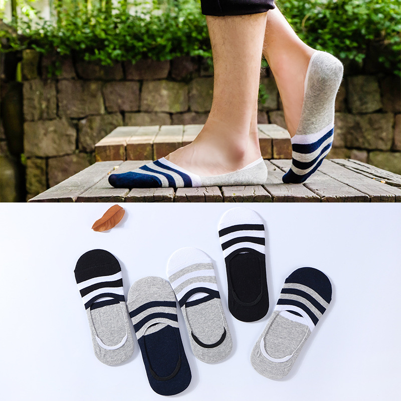Men Socks Spring And Summer New Cotton Happy Socks Shallow Mouth Invisible Socks Silicone Non-slip Striped Funny Sock 020801