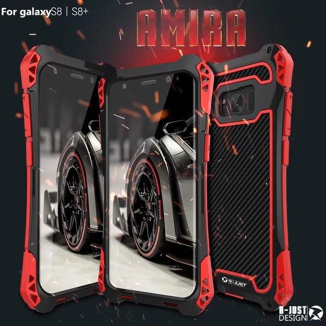 R JUST Dành Cho Samsung 10 Plus S9 S8 S7 Edge Giáp Vua Nhôm Sợi Carbon Chống Sốc Dành Cho Galaxy note 8 9 10Coque