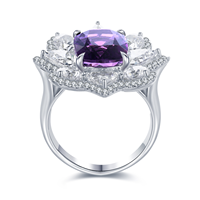 9K White Gold Natural Crystal Engagement Infinity Ring For Women 2