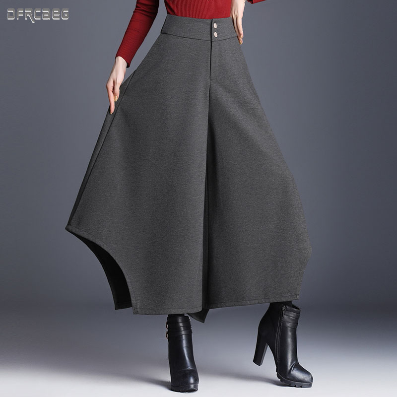 2019 New Autumn Warm Thicken Elegant Women Long Wool Skirt Winter Solid Loose Wool Nine Point Pants Row Of Button Wool Culottes
