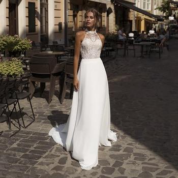 simple wedding dress White Sexy High Split Skirt Jewel Neck Chiffon Boho Bridal Dress Beach Wedding Gowns Plus Size - discount item  41% OFF Wedding Dresses