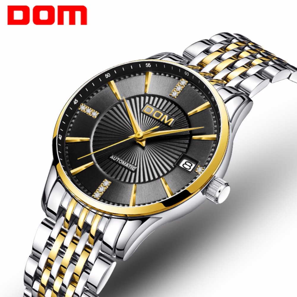 new DOM Women Mechanical Watch Fashion Stainless Steel Design Top Brand Luxury Waterproof Female Automatic Clock Montre Femme