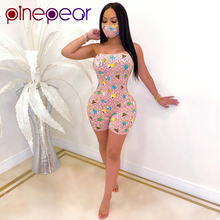 PinePear Ice Cream Print Strapless Playsuits and Mask Sexy N