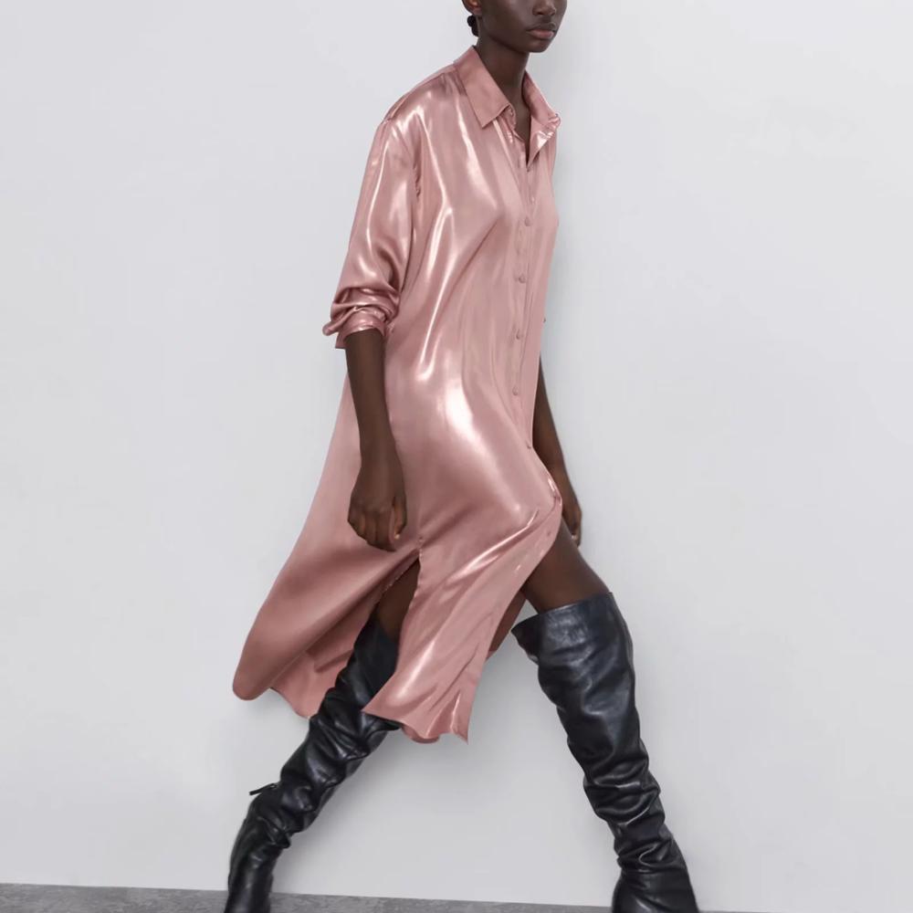 ZA Women Dress 2019 Winter Autumn Metal Color Reflective Elegant Chic Lady Long Dresses Shirt Style Dress