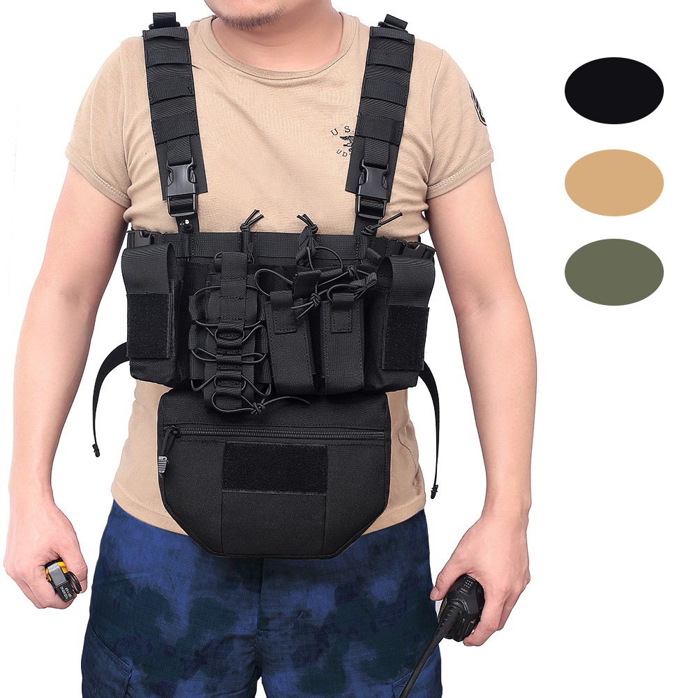 Tactical Vest Molle Black Airsoft Military Vest CS Outdoor Clothing Hunting Vest Paintball Equipment With Two Way Radio Pouch