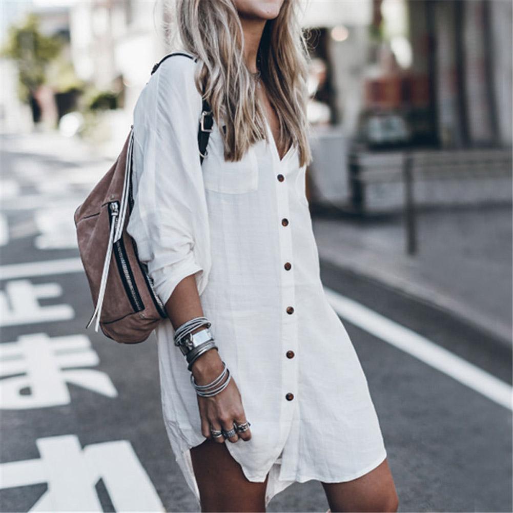 Fashion Summer Women Loose Mini Shirts Dress Buttons Up Long Blouse Dresses  Casual Long Sleeve Dress Cotton Linen Korean Tops Blouses & Shirts  -  AliExpress