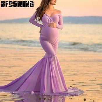 Ong Sleeve Vneck Pregnant Photography Dress  Maternity Maxi Dress Photography Props Pregnancy Dress Photo Shoot  Maternity Gown s m l xl maternity dress for photo shoot maxi maternity gown split front maternity chiffon gown sexy maternity photography props