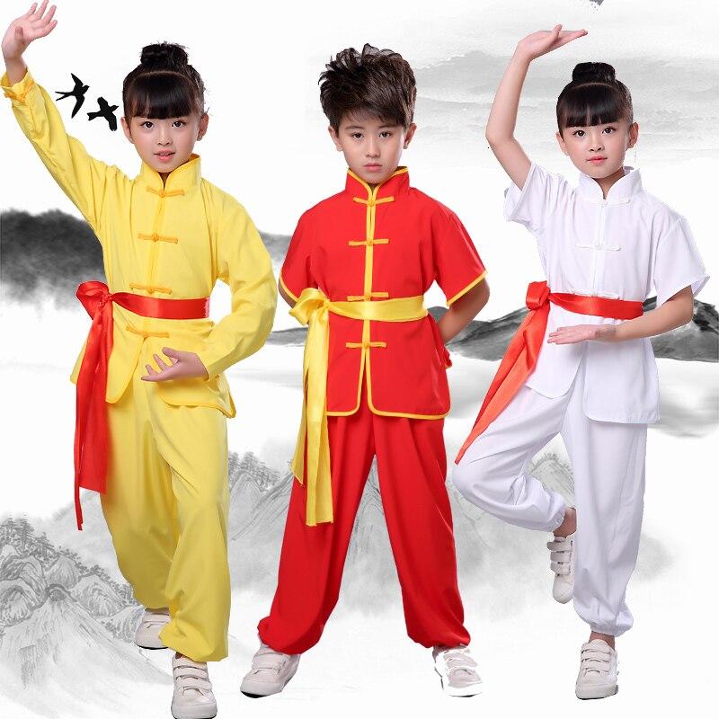 Детская традиционная китайская форма ханьфу ушу кунг фу для боевых искусств, спортивный костюм Тай Чи, топы, штаны, комплект одежды, карнавальный костюм|Наборы| | АлиЭкспресс