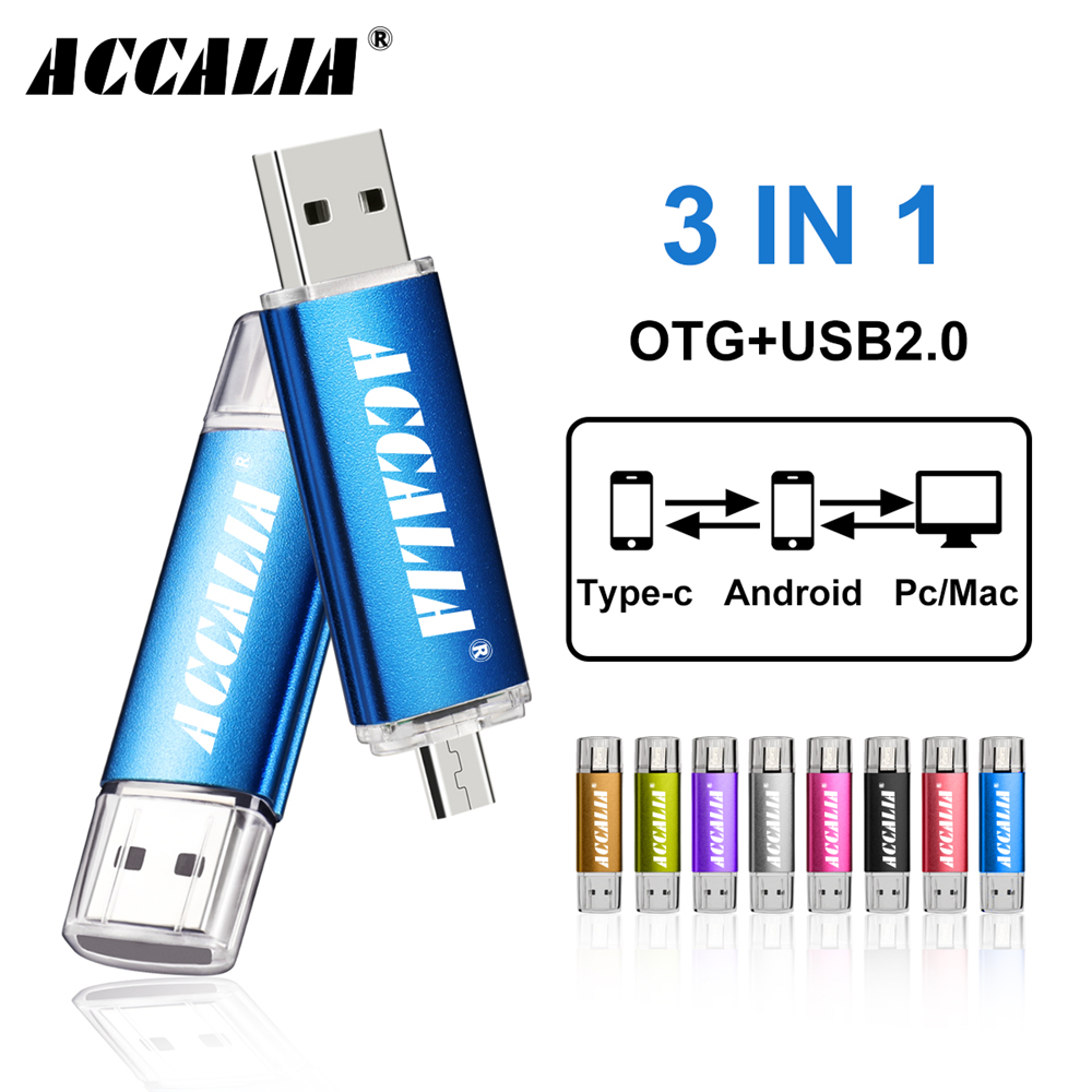 Kim Loại OTG 3 Trong 1 Loại C Bút 64GB Bộ Nhớ USB 8GB Pendrive 16GB USB 32GB 128GB OTG CLE USB Tặng Bút Cảm Ứng title=