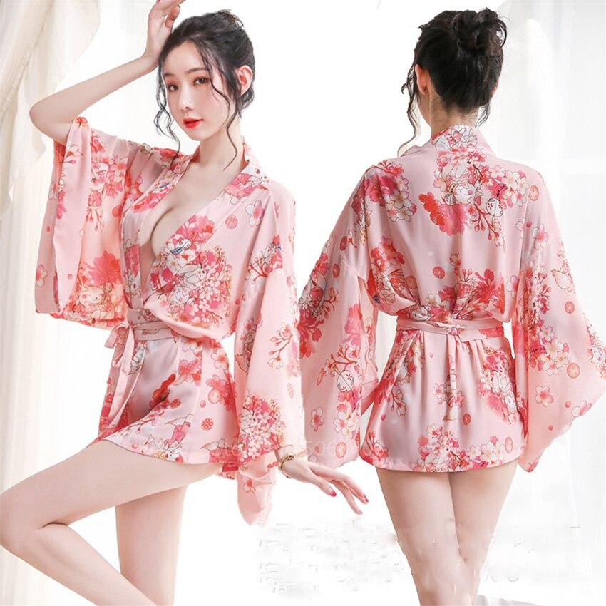 Kimono Cardigan Japanese Style Sakura Girl Haori Sexy Satin Pajamas Yukata Dress Women Rubbit Bathrobe Party Nightgown Geisha