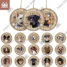 Putuo Decor Dog okrągłe drewniane znaki piękny przyjaźń Pet wisiorek z psem Tag dla psia buda hodowla dekoracja drzwi miłośnik psów prezent