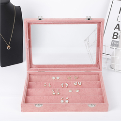 High-end Simple Pink Earrings Earrings Display Box With Cover Dustproof Transparent Finishing Jewelry Jewelry Storage Box