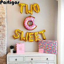 1 セット 16 インチローズゴールド 2 甘い手紙箔風船ドーナツバルーンベビーシャワーのための 2nd誕生日パーティーの装飾パーティーサプライヤー