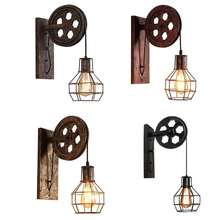 Retro American-Style Country Wall Lamp Industrial Creative Iron Pulley Wall Light Restaurant Corridor Aisle Lighting
