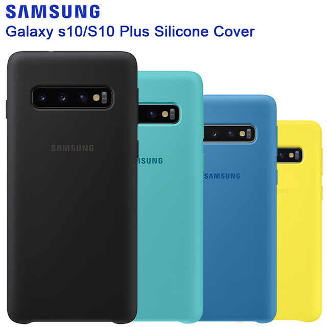 삼성 원래 실리콘 케이스 전화 커버 갤럭시 S10 S10X S10Plus SM G9750 S10 X S10E SM G970F G970U G970N 충격 방지 커버