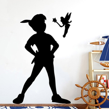 цена на Cartoon Peter Pan Wendy Wall Decal Nursery Kids Room Tinkerbell Peter Pan Fairy Wall Sticker Bedroom Play Room Vinyl Decor LW243