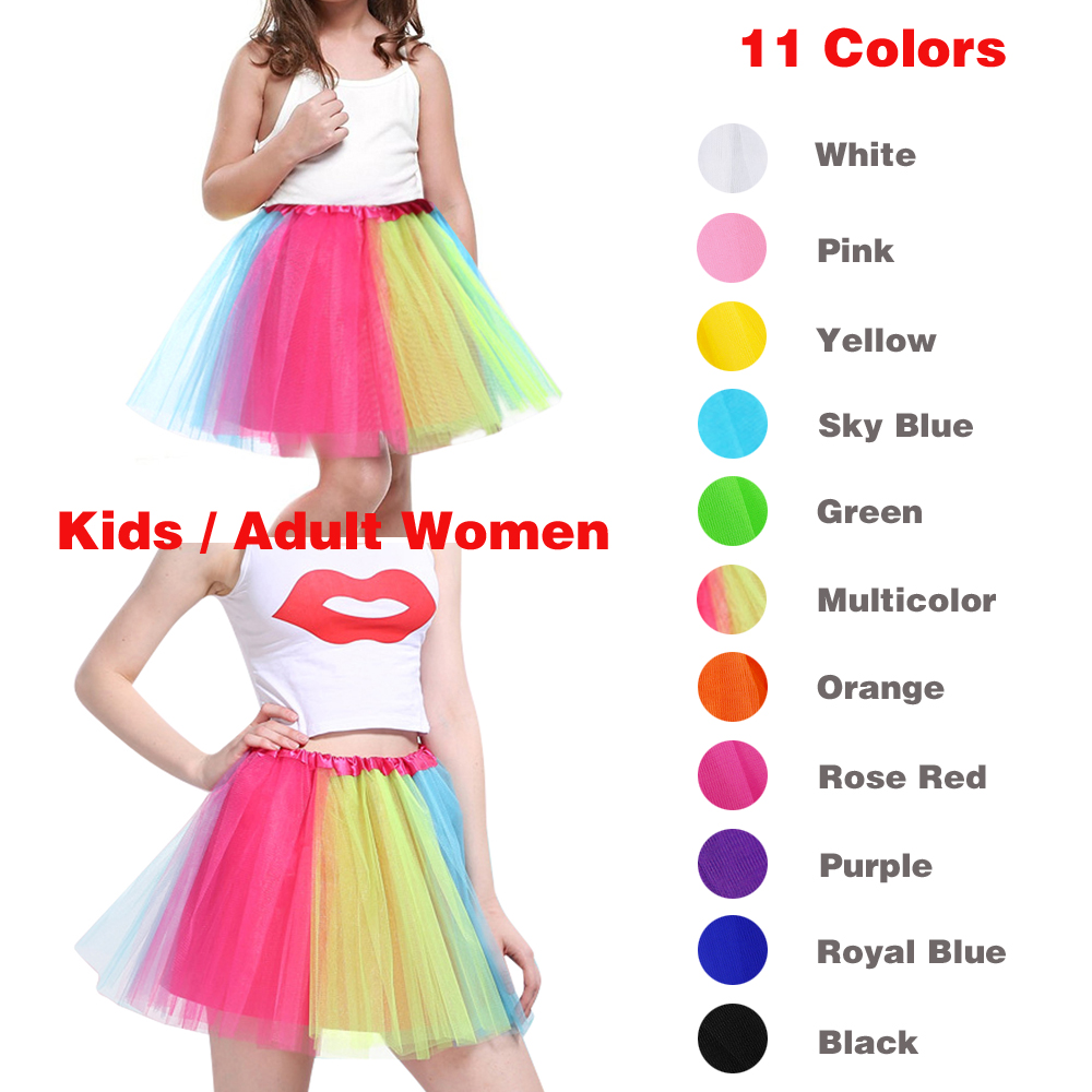 Mother And Daughter Skirt Rainbow Tulle Skirt Carnival Petticoat Mesh Mini Tutu Skirts Candy Color Kinderfasching Faschingsparty