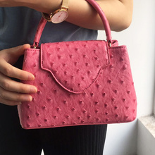 Luxury Brand Design Women Ostrich Leather Tote Bag Snake Pattern Leather Shoulder Bags for Party Hot Sales