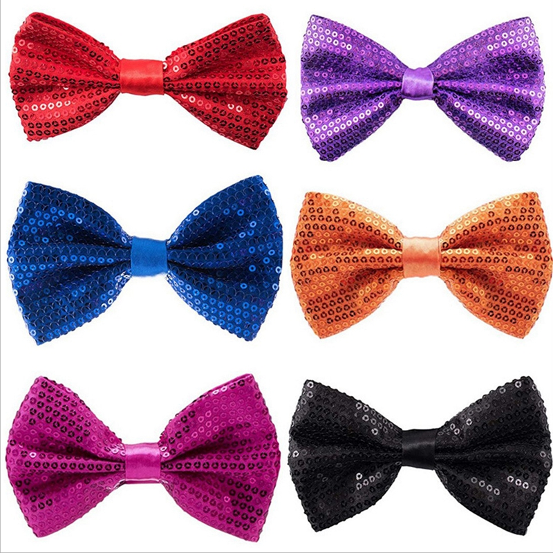 Men Bowtie Wholesale Shining Sequin Tie Fashion Gravata Party Wedding Bow Ties For Boys Girls Candy Color Bowknot Accessories