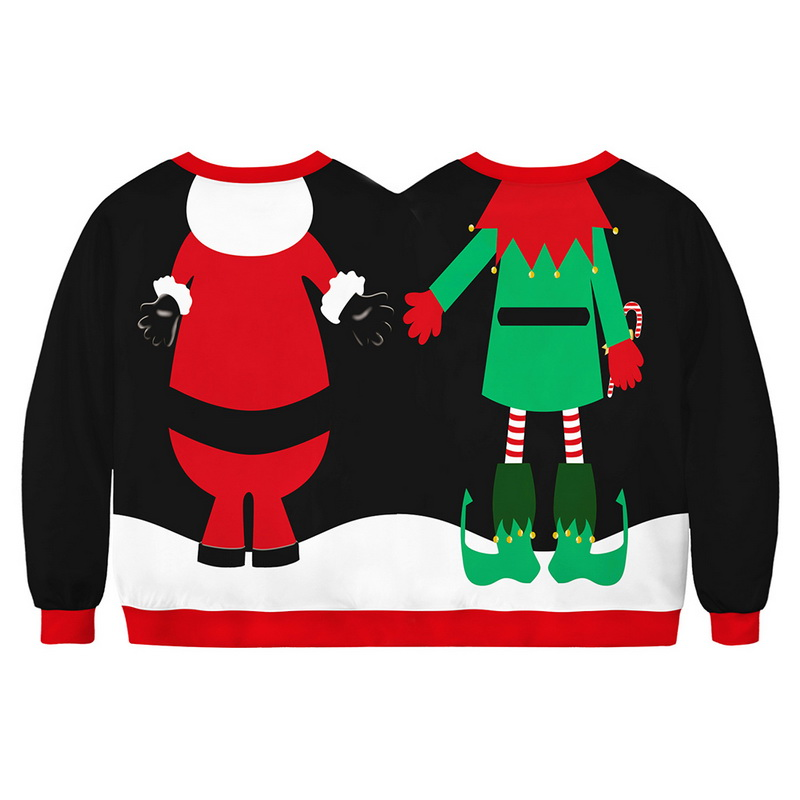 New Design Conjoined Christmas Sweatshirt Men/Women Streetwear Moletom Harajuku Conjoined Couple Tops Autumn Winter Clothes 2019